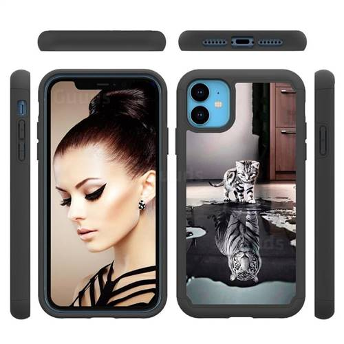 Cat and Tiger Shock Absorbing Hybrid Defender Rugged Phone Case Cover for iPhone 11 (6.1 inch)