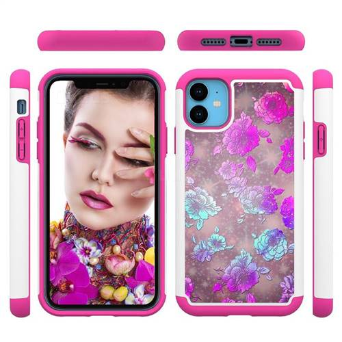peony Flower Shock Absorbing Hybrid Defender Rugged Phone Case Cover for iPhone 11 (6.1 inch)