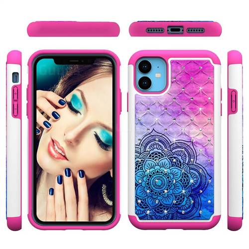 Colored Mandala Studded Rhinestone Bling Diamond Shock Absorbing Hybrid Defender Rugged Phone Case Cover for iPhone 11 (6.1 inch)