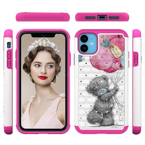 Gray Bear Studded Rhinestone Bling Diamond Shock Absorbing Hybrid Defender Rugged Phone Case Cover for iPhone 11 (6.1 inch)