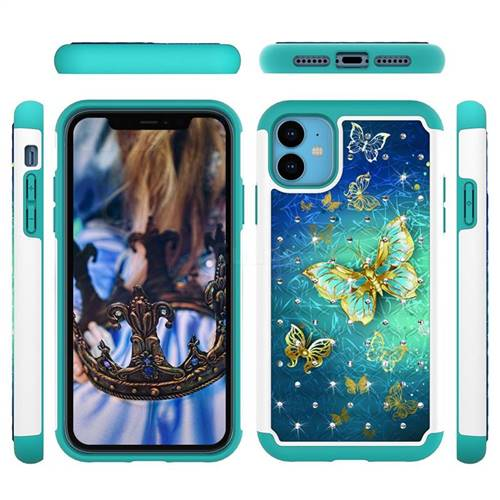 Gold Butterfly Studded Rhinestone Bling Diamond Shock Absorbing Hybrid Defender Rugged Phone Case Cover for iPhone 11 (6.1 inch)