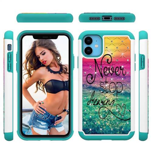 Colorful Dream Catcher Studded Rhinestone Bling Diamond Shock Absorbing Hybrid Defender Rugged Phone Case Cover for iPhone 11 (6.1 inch)