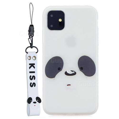 White Feather Panda Soft Kiss Candy Hand Strap Silicone Case for iPhone 11 (6.1 inch)