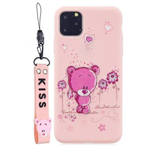 Pink Flower Bear Soft Kiss Candy Hand Strap Silicone Case for iPhone 11 (6.1 inch)