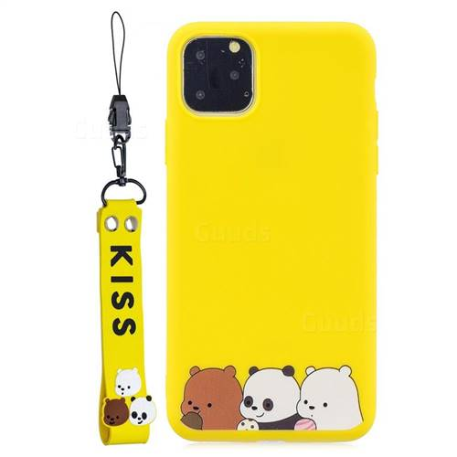 Yellow Bear Family Soft Kiss Candy Hand Strap Silicone Case for iPhone 11 (6.1 inch)