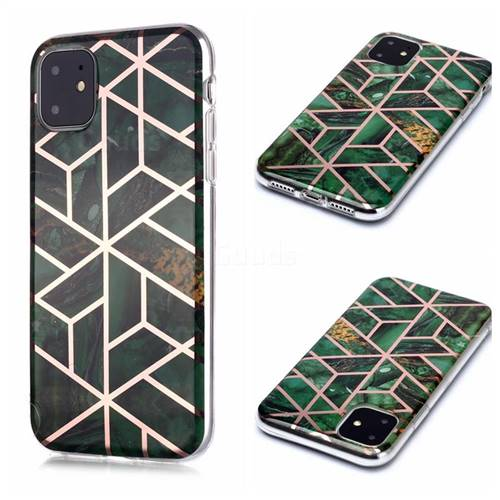 Green Rhombus Galvanized Rose Gold Marble Phone Back Cover for iPhone 11 (6.1 inch)