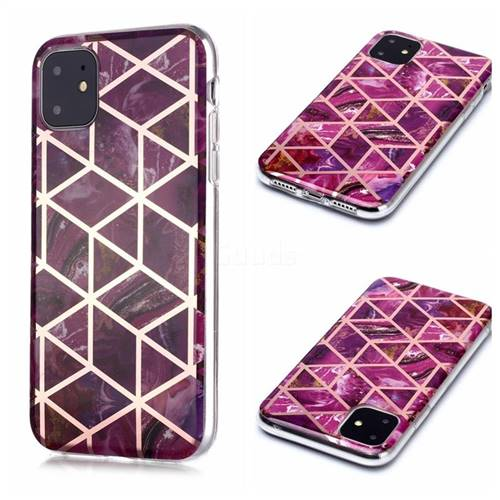 Purple Rhombus Galvanized Rose Gold Marble Phone Back Cover for iPhone 11 (6.1 inch)