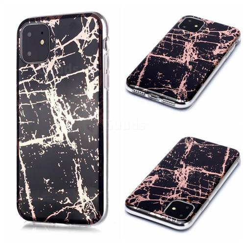 Black Galvanized Rose Gold Marble Phone Back Cover for iPhone 11 (6.1 inch)