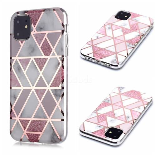 Pink Rhombus Galvanized Rose Gold Marble Phone Back Cover for iPhone 11 (6.1 inch)