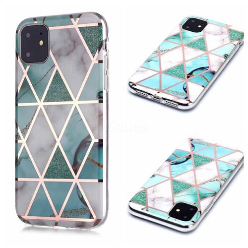 Green White Galvanized Rose Gold Marble Phone Back Cover for iPhone 11 (6.1 inch)