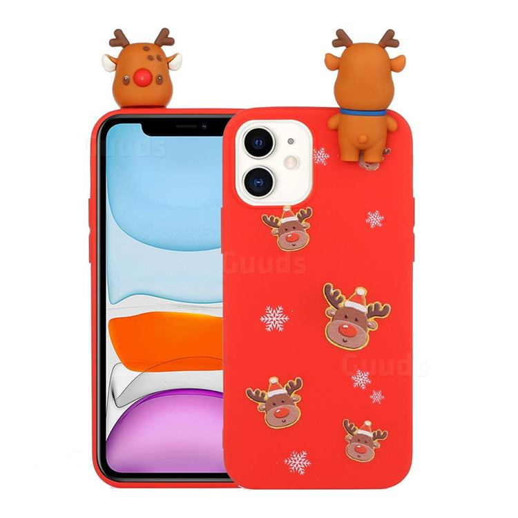 Elk Snowflakes Christmas Xmax Soft 3D Doll Silicone Case for iPhone 11 (6.1 inch)