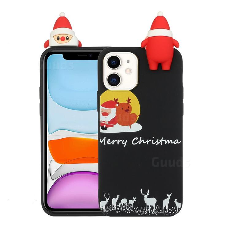 Santa Elk on Moon Christmas Xmax Soft 3D Doll Silicone Case for iPhone 11 (6.1 inch)