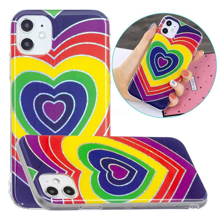 Rainbow Heart Painted Galvanized Electroplating Soft Phone Case Cover for iPhone 11 (6.1 inch)