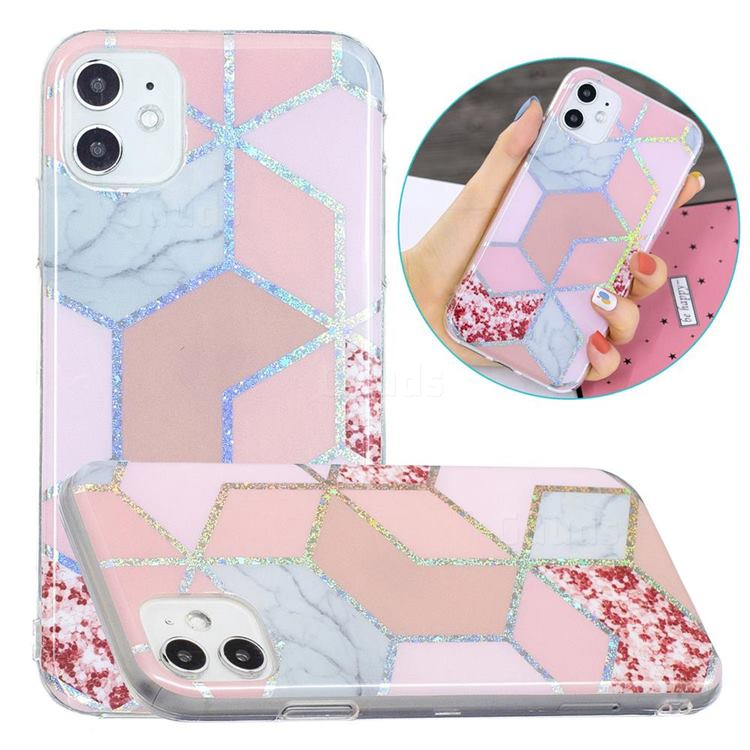 Pink Marble Painted Galvanized Electroplating Soft Phone Case Cover for iPhone 11 (6.1 inch)