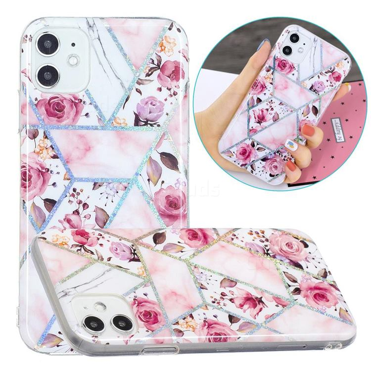 Rose Flower Painted Galvanized Electroplating Soft Phone Case Cover for iPhone 11 (6.1 inch)
