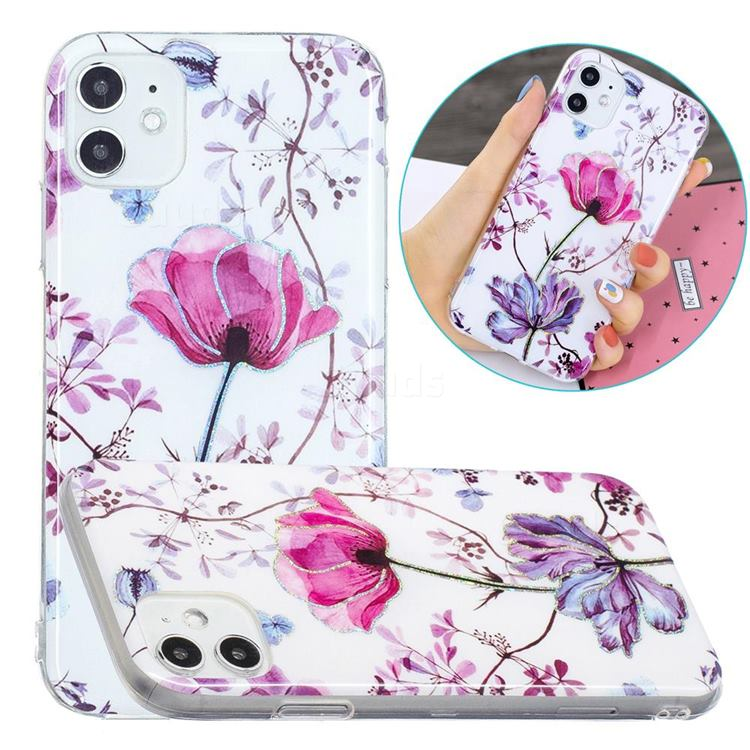 Magnolia Painted Galvanized Electroplating Soft Phone Case Cover for iPhone 11 (6.1 inch)