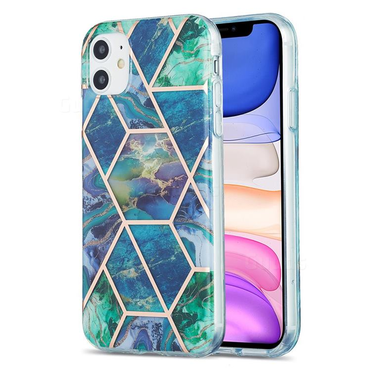 Blue Green Marble Pattern Galvanized Electroplating Protective Case Cover for iPhone 11 (6.1 inch)