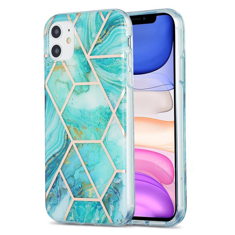Blue Sea Marble Pattern Galvanized Electroplating Protective Case Cover for iPhone 11 (6.1 inch)