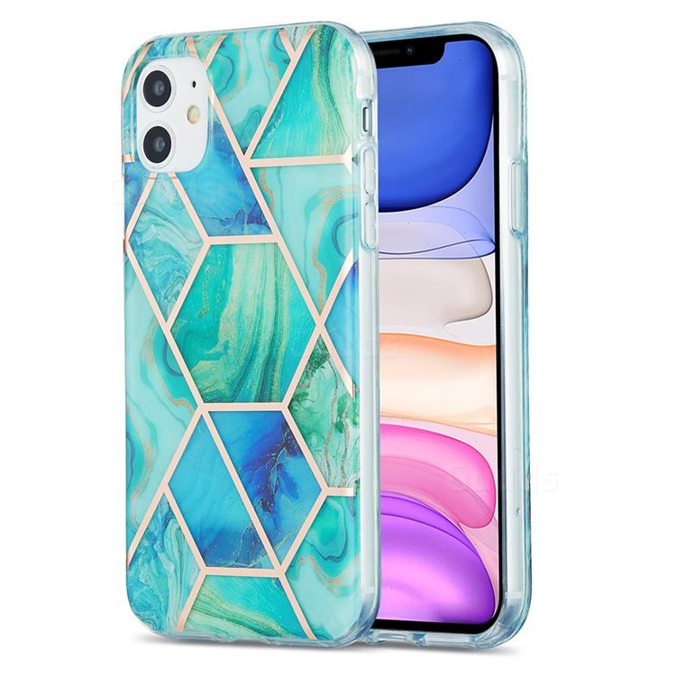 Green Glacier Marble Pattern Galvanized Electroplating Protective Case Cover for iPhone 11 (6.1 inch)