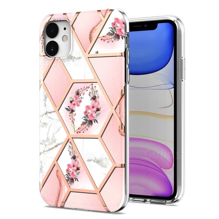 Pink Flower Marble Electroplating Protective Case Cover for iPhone 11 (6.1 inch)
