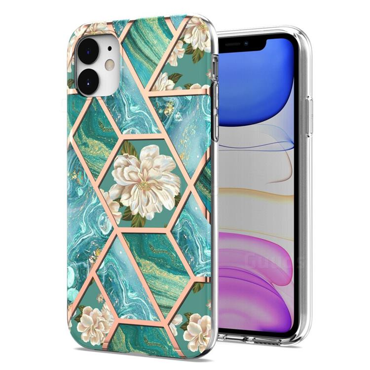 Blue Chrysanthemum Marble Electroplating Protective Case Cover for iPhone 11 (6.1 inch)