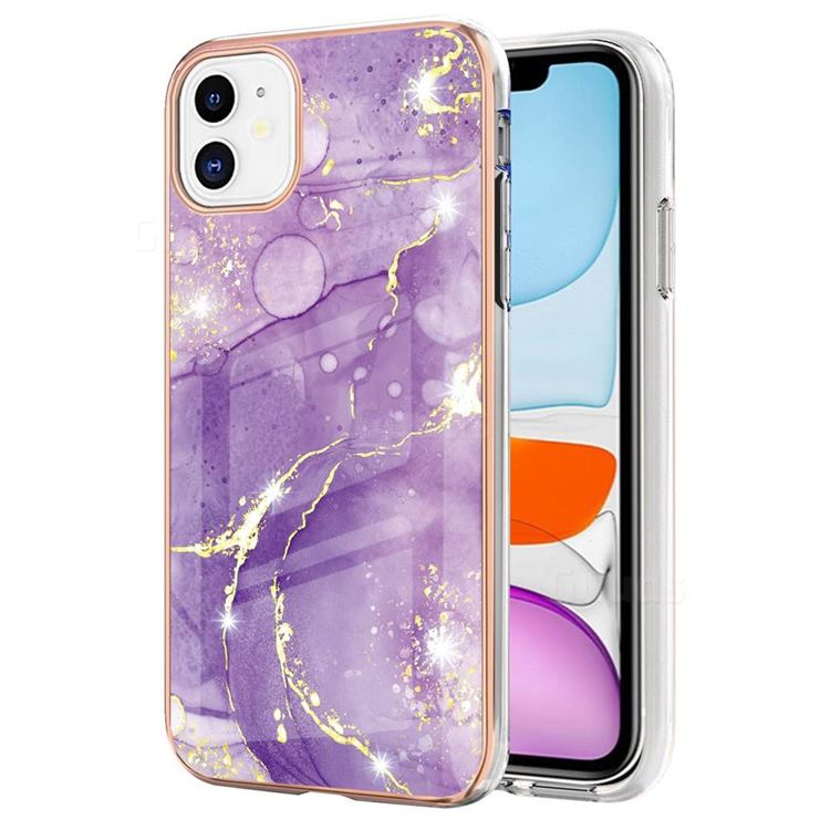 Fashion Purple Electroplated Gold Frame 2.0 Thickness Plating Marble IMD Soft Back Cover for iPhone 11 (6.1 inch)