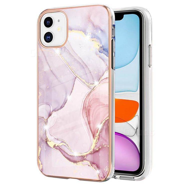 Rose Gold Dancing Electroplated Gold Frame 2.0 Thickness Plating Marble IMD Soft Back Cover for iPhone 11 (6.1 inch)