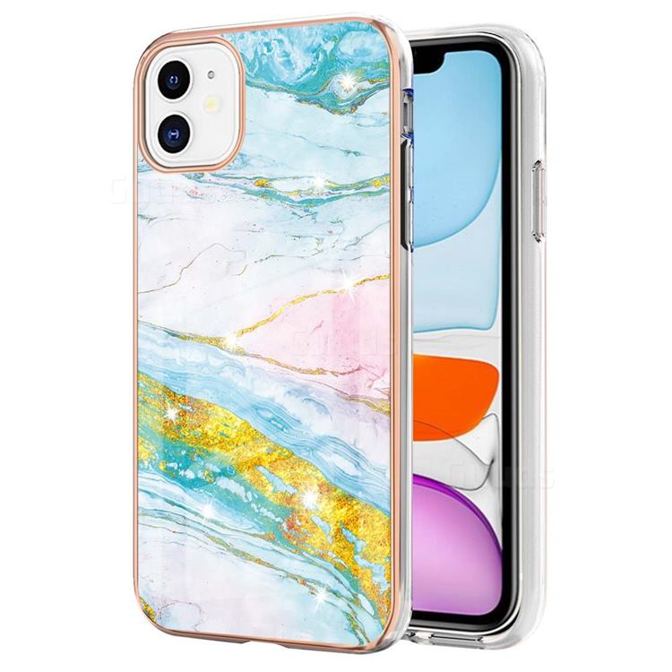 Green Golden Electroplated Gold Frame 2.0 Thickness Plating Marble IMD Soft Back Cover for iPhone 11 (6.1 inch)