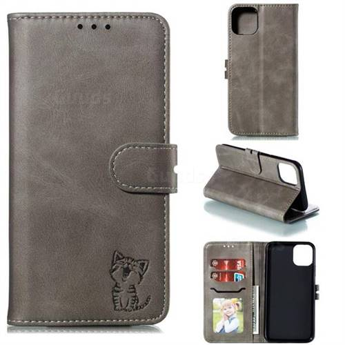 Embossing Happy Cat Leather Wallet Case for iPhone 11 (6.1 inch) - Gray