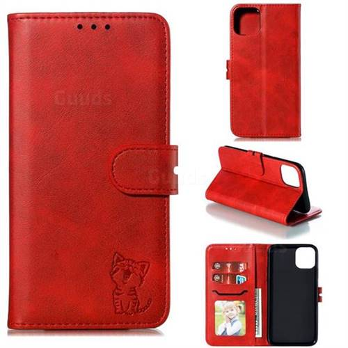 Embossing Happy Cat Leather Wallet Case for iPhone 11 (6.1 inch) - Red