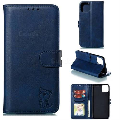 Embossing Happy Cat Leather Wallet Case for iPhone 11 (6.1 inch) - Blue