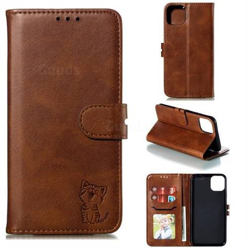 Embossing Happy Cat Leather Wallet Case for iPhone 11 (6.1 inch) - Brown