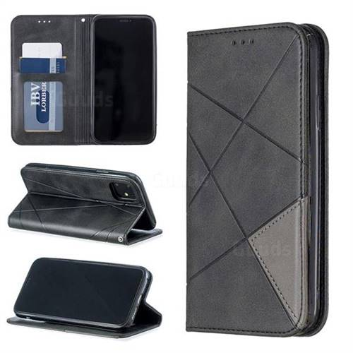 Prismatic Slim Magnetic Sucking Stitching Wallet Flip Cover for iPhone 11 (6.1 inch) - Black