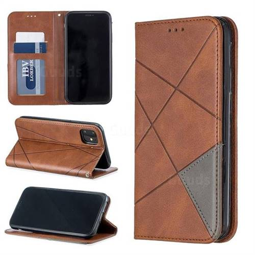 Prismatic Slim Magnetic Sucking Stitching Wallet Flip Cover for iPhone 11 (6.1 inch) - Brown