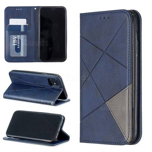 Prismatic Slim Magnetic Sucking Stitching Wallet Flip Cover for iPhone 11 (6.1 inch) - Blue