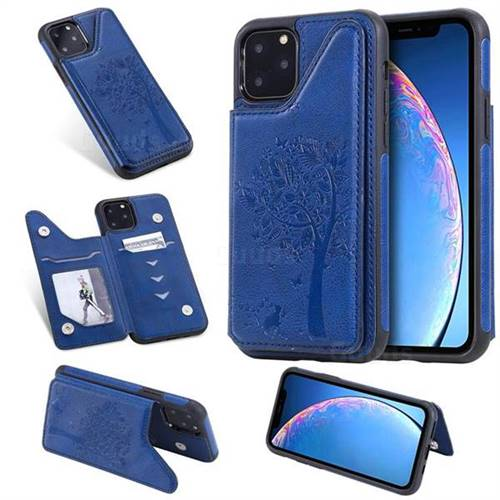 Luxury Tree and Cat Multifunction Magnetic Card Slots Stand Leather Phone Back Cover for iPhone 11 (6.1 inch) - Blue