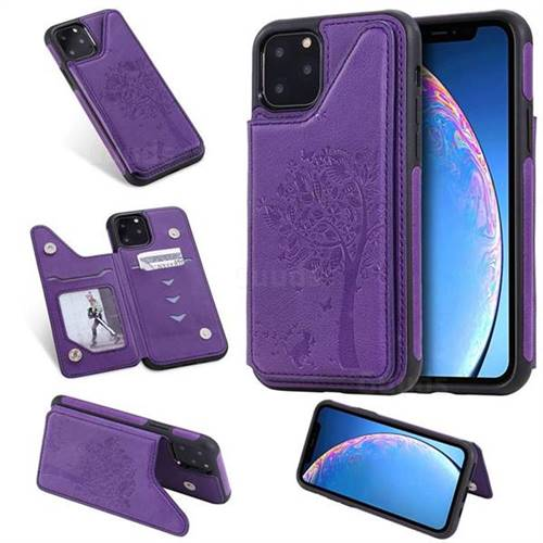Luxury Tree and Cat Multifunction Magnetic Card Slots Stand Leather Phone Back Cover for iPhone 11 (6.1 inch) - Purple