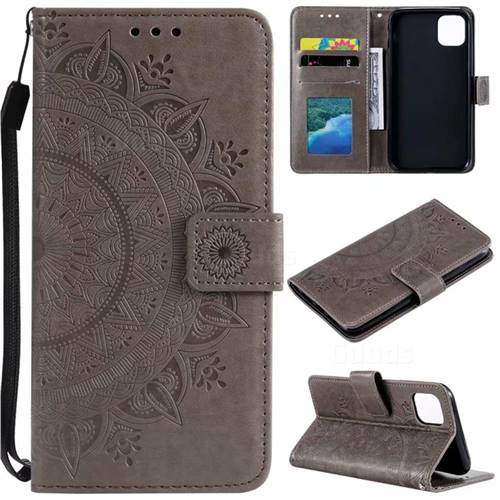 Intricate Embossing Datura Leather Wallet Case for iPhone 11 (6.1 inch) - Gray