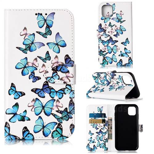 Blue Vivid Butterflies PU Leather Wallet Case for iPhone 11 (6.1 inch)