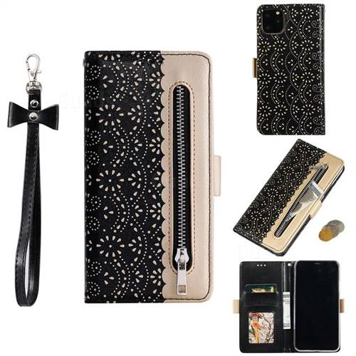 Luxury Lace Zipper Stitching Leather Phone Wallet Case for iPhone 11 (6.1 inch) - Black