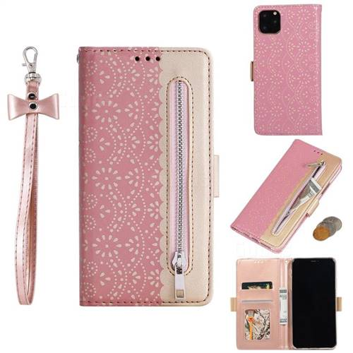 Luxury Lace Zipper Stitching Leather Phone Wallet Case for iPhone 11 (6.1 inch) - Pink