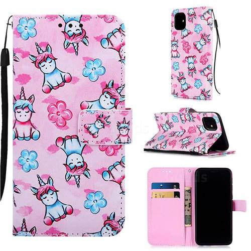 Unicorn and Flowers Matte Leather Wallet Phone Case for iPhone 11 (6.1 inch)
