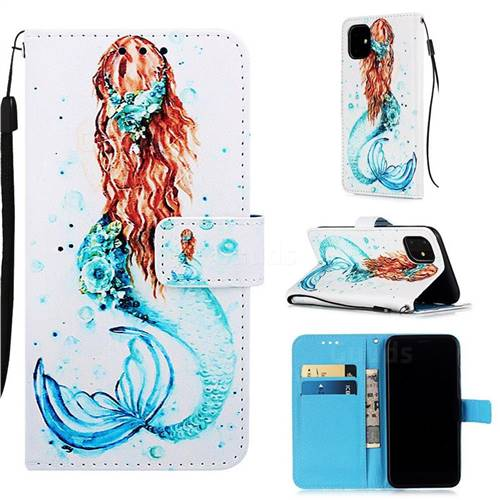 Mermaid Matte Leather Wallet Phone Case for iPhone 11 (6.1 inch)