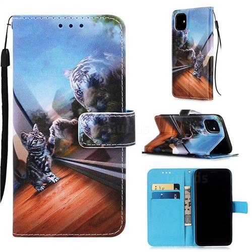 Mirror Cat Matte Leather Wallet Phone Case for iPhone 11 (6.1 inch)