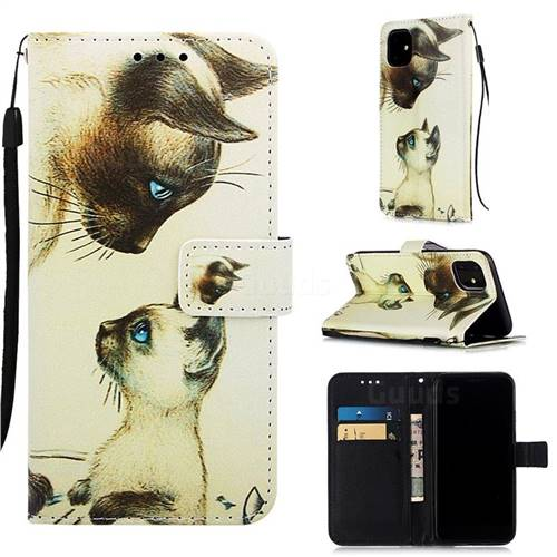 Cat Confrontation Matte Leather Wallet Phone Case for iPhone 11 (6.1 inch)