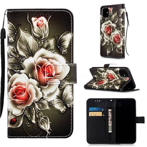 Black Rose Matte Leather Wallet Phone Case for iPhone 11 (6.1 inch)