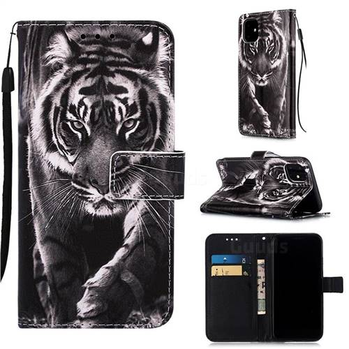 Black and White Tiger Matte Leather Wallet Phone Case for iPhone 11 (6.1 inch)