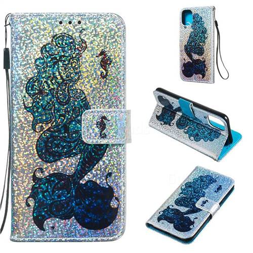 Mermaid Seahorse Sequins Painted Leather Wallet Case for iPhone 11 (6.1 inch)