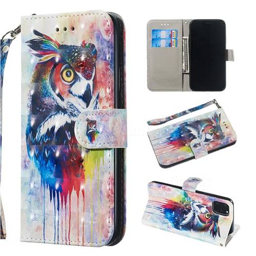 Watercolor Owl 3D Painted Leather Wallet Phone Case for iPhone 11 (6.1 inch)