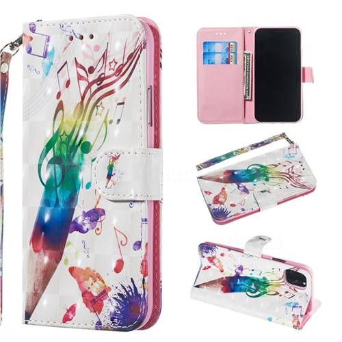 Music Pen 3D Painted Leather Wallet Phone Case for iPhone 11 (6.1 inch)